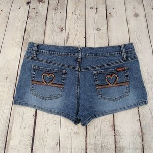 Roxy Heart Embroidered Blue Jean Stretch Shorts